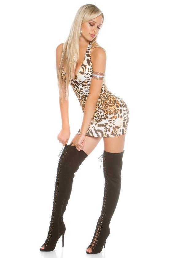Neoninės geltonos spalvos tampri suknelė atvirais pečiais_204307