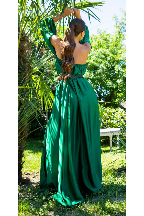 Žalios spalvos maxi satininė suknelė_205222