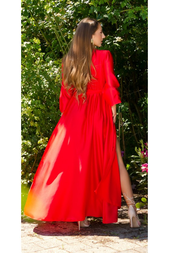 Raudonos spalvos ilga satino suknelė_206723