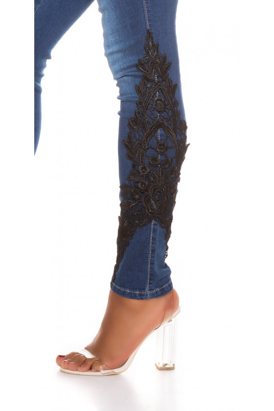 Tamsiai mėlynos spalvos džinsai su nėriniais_207373