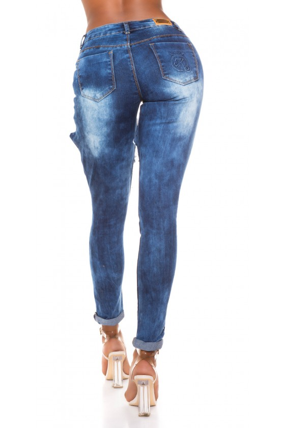 Mėlynos spalvos plėšyti džinsai su kristalais_207432
