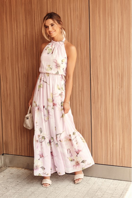 Rausvos spalvos maxi gėlėta suknelė