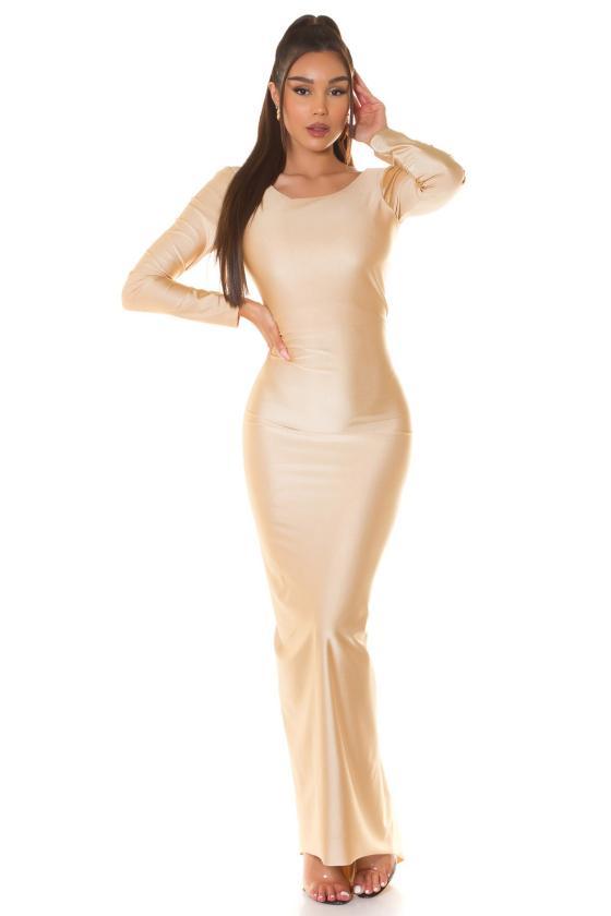 Smėlio spalvos suknelė su džinso detalėmis