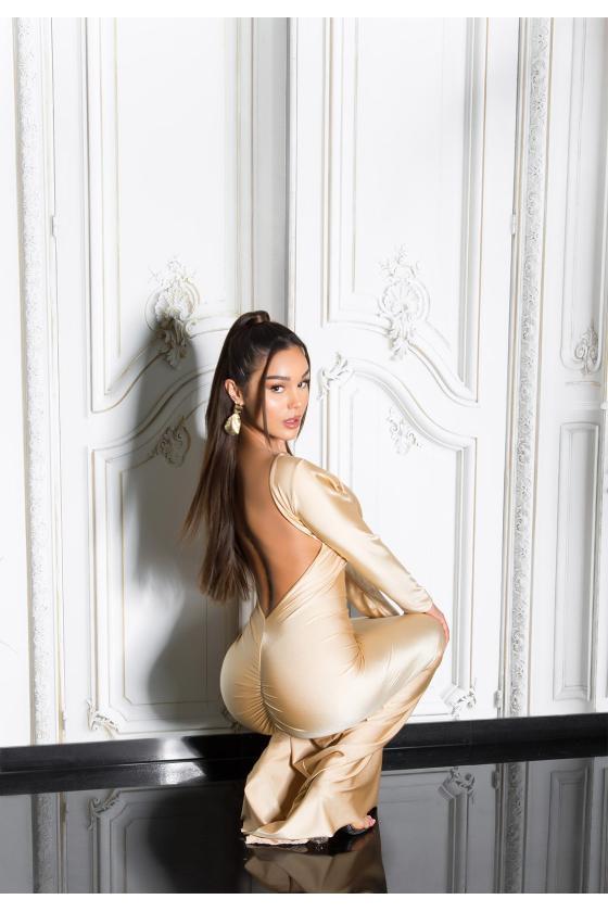 Smėlio spalvos suknelė su džinso detalėmis_209112