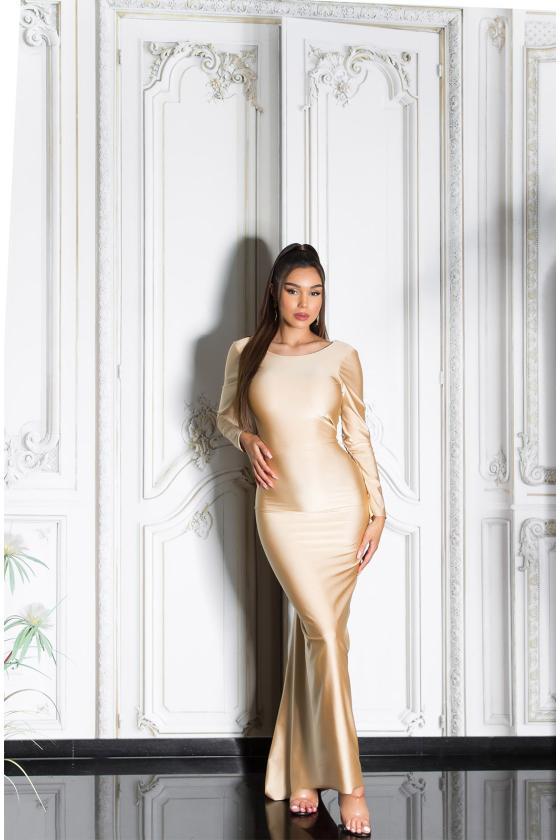 Smėlio spalvos suknelė su džinso detalėmis_209113