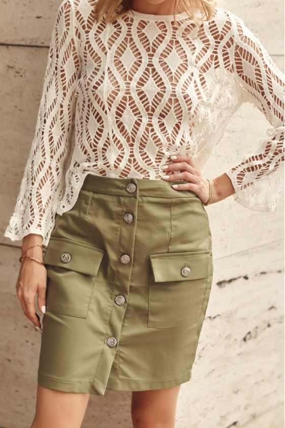 Chaki spalvos sijonas dekoruotas sagomis