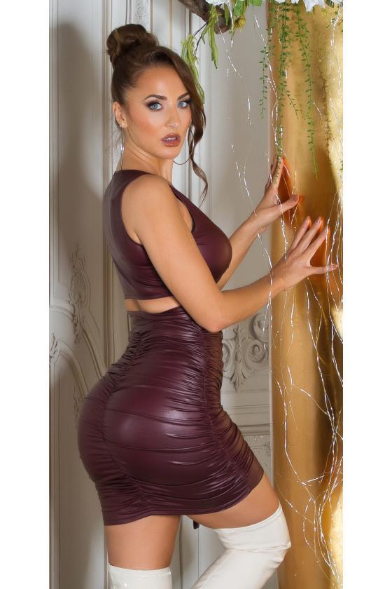 Ilga chaki spalvos satino imitacijos suknelė atvira nugara