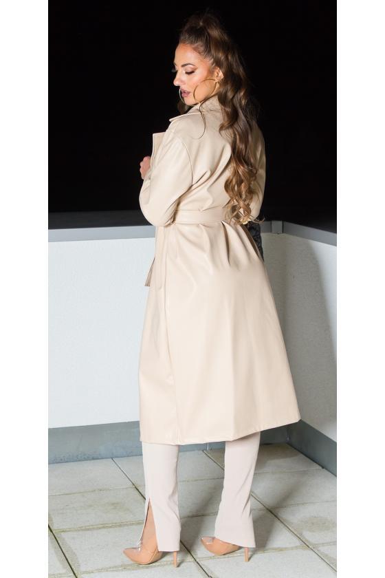 Geltonos spalvos ilgas apsiaustas su gobtuvu