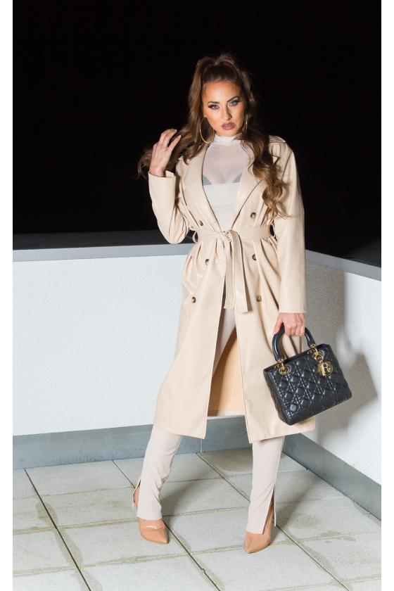 Mėlynos spalvos ilgas apsiaustas su gobtuvu