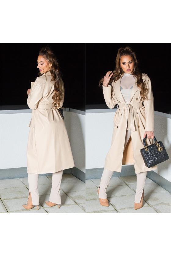 Raudonos spalvos ilgas apsiaustas su gobtuvu