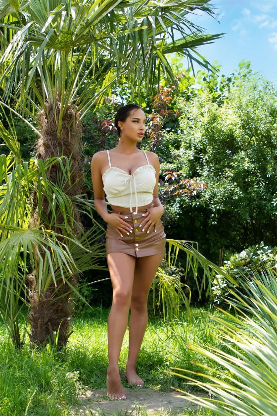 Mėlynos spalvos trumpinti džinsai žemu liemeniu_212506