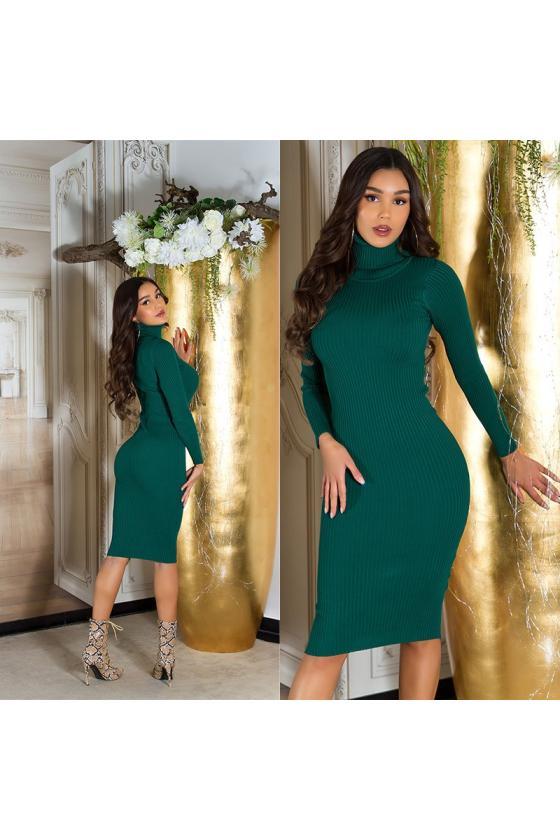 Chaki spalvos laisvalaikio suknelė su kišenėmis_213429