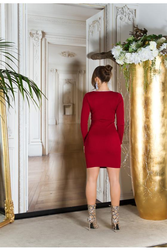 Violetinės spalvos megzta suknelė_215103