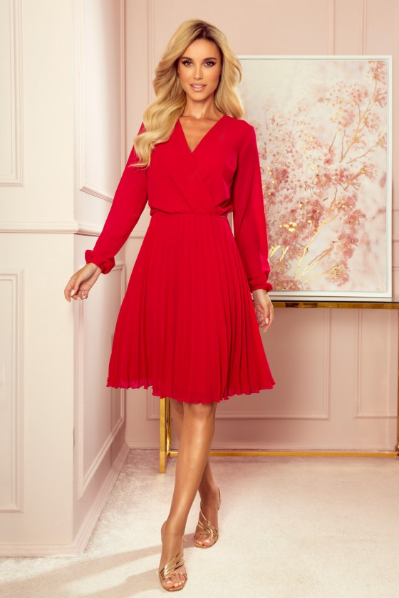 """Raudonos spalvos plisuota suknelė """"Izabelė""""_215394"""