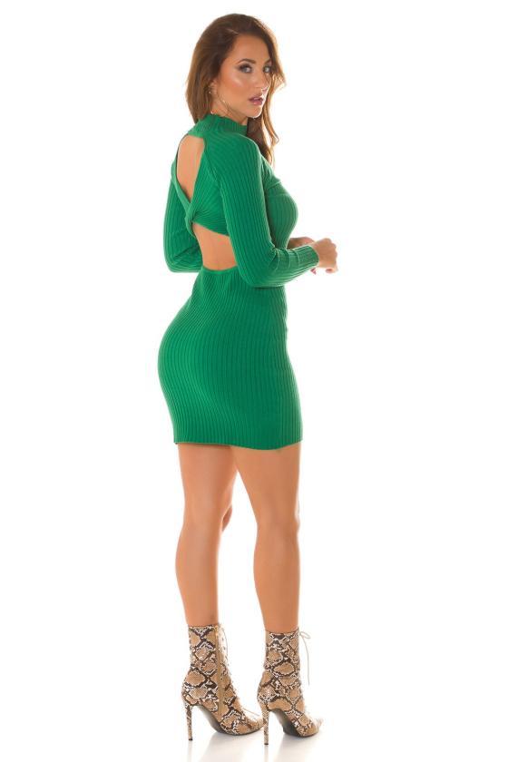 Purvinos rožinės spalvos nėriniuota suknelė trumpomis rankovėmis_215399