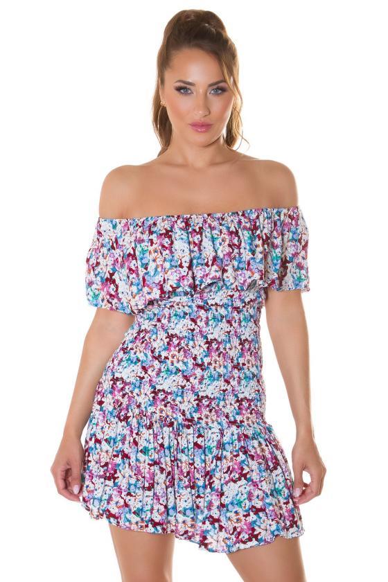 Rožinė laisvalaikio suknelė reguliuojamu liemeniu_216047