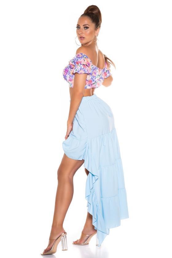 Odos imitacijos smėlio spalvos mini sijonas