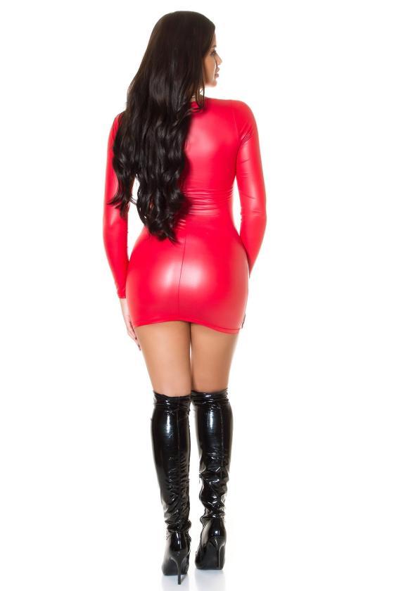 Rožinis latekso imitacijos mini sijonas_216117