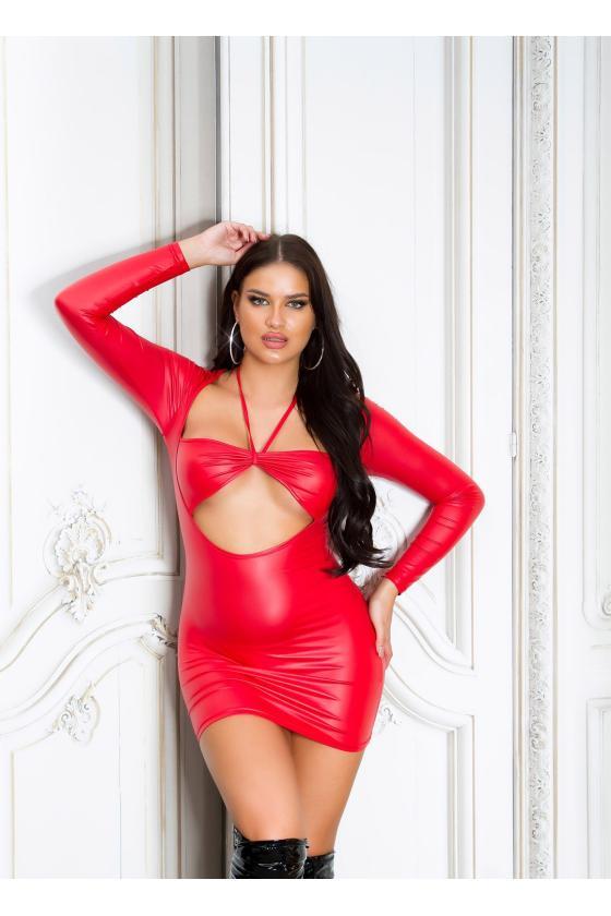 Odos imitacijos raudonos spalvos push up kelnės su užtrauktuku priekyje
