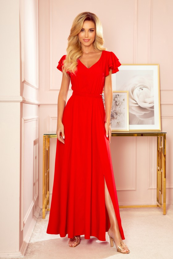 Ilga raudonos spalvos suknelė LIDIA