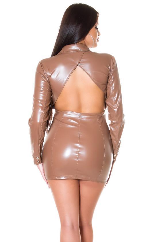 Raudonos spalvos midi ilgio šifoninė suknelė