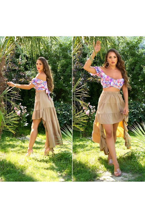 Žalios spalvos midi ilgio šifoninė suknelė_216406
