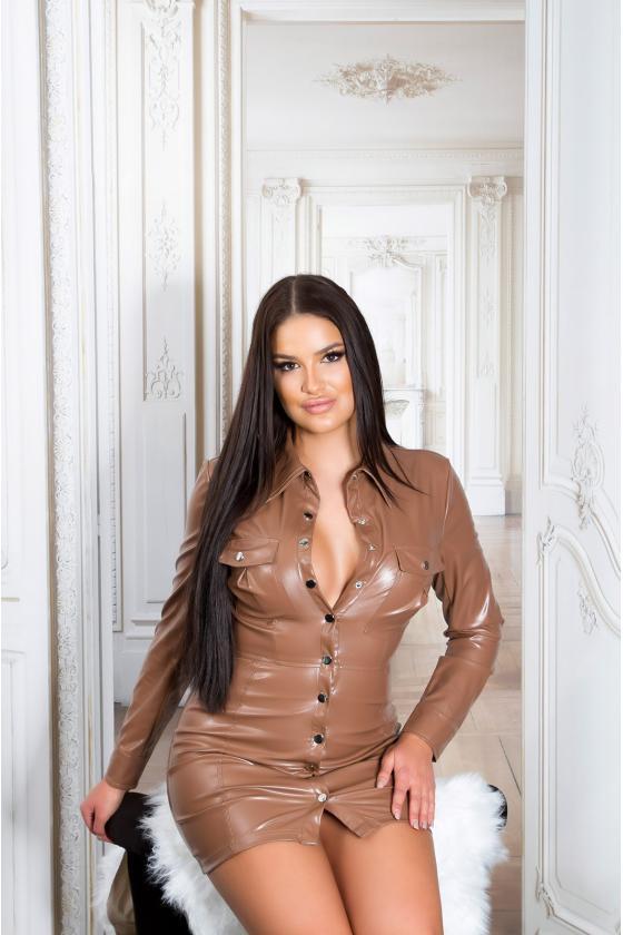 Purvinos rožinės spalvos midi ilgio šifoninė suknelė