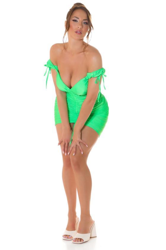 Laisvo modelio žydra suknelė dekoruota su auksiniais raštais_216425
