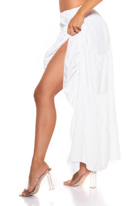 Laisvo modelio žydra suknelė dekoruota su auksiniais raštais_216427