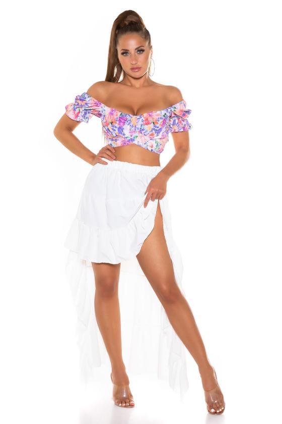 Baltos spalvos ilga suknelė su gėlių raštais_216433