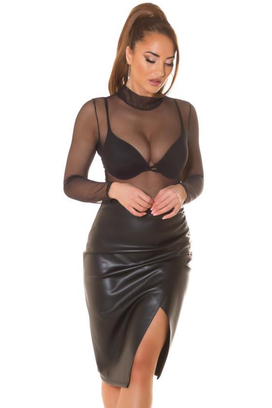 Juodos spalvos asimetriška suknelė FI666