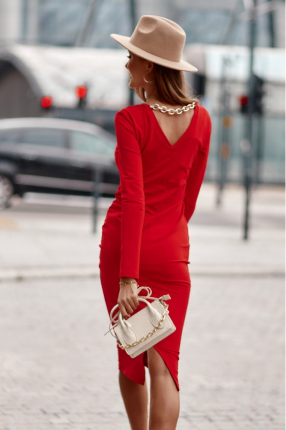Raudonos spalvos midi suknelė FI663_218806