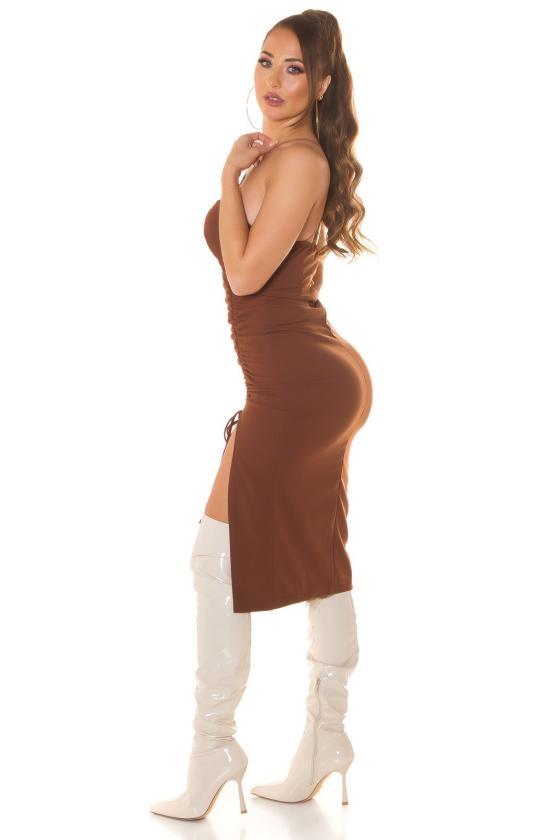 Juodos spalvos šilko imitacijos suknelė