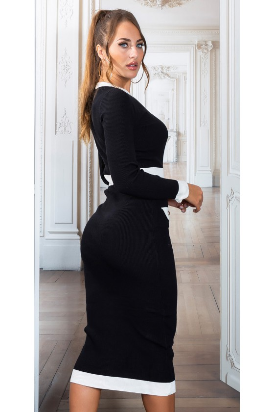 Juodos spalvos megzta suknelė PU4491E_218977