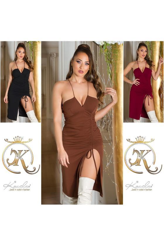 Tamsiai mėlynos spalvos megzta suknelė PU4491E_218982