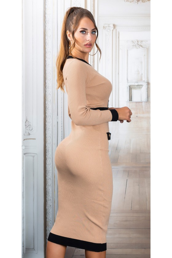 Kapučino spalvos megzta suknelė PU4491E_218992