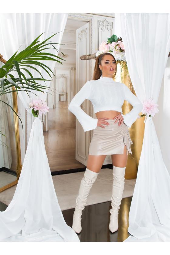 Smėlio spalvos dviejų dalių kompletas kepurė+šalikas_219061