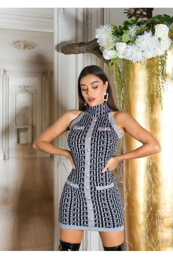 Juodos spalvos suknelė su praskiepu_219361