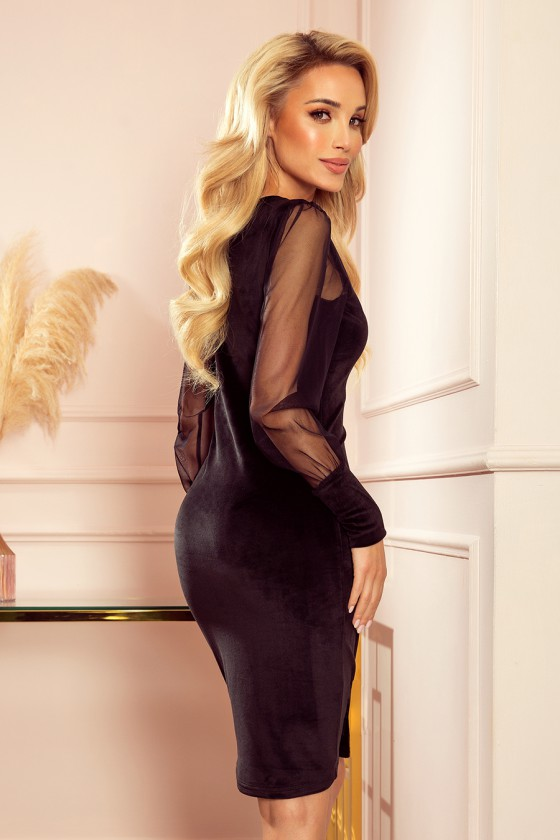 Juodos spalvos elegantiška veliūrinė suknelė_219878