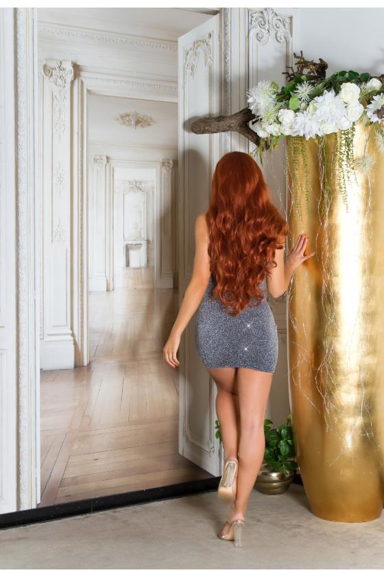 Juodos spalvos elegantiška veliūrinė suknelė_219879