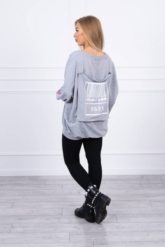 Pilkos spalvos oversize modelio džemperis_220654