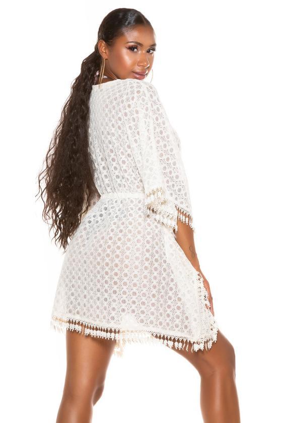 Chaki spalvos suknelė aukštu kaklu