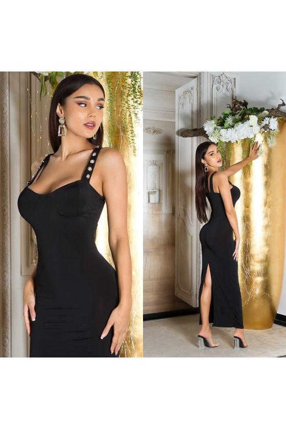 Odos imitacijos juodos spalvos push up kelnės su užtrauktuku priekyje_222011