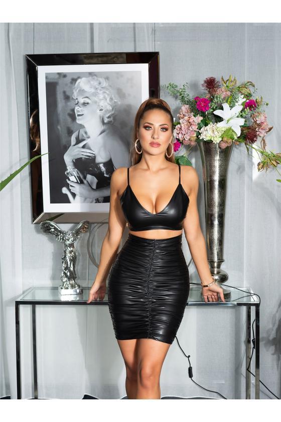 Mėlynos spalvos aptempta megzta suknelė