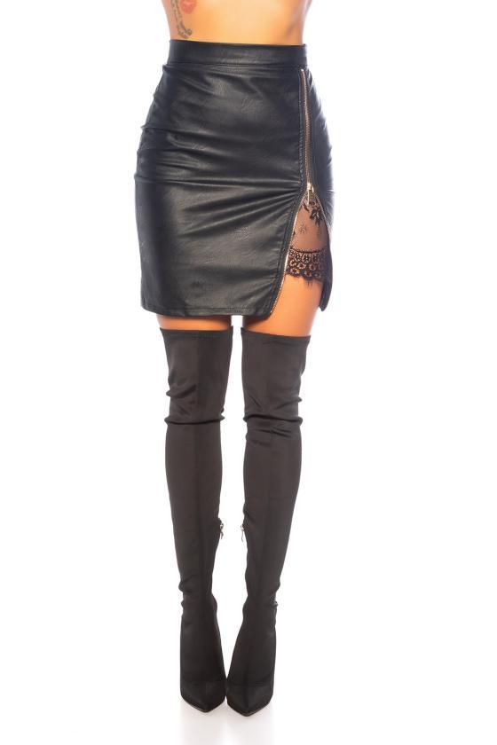 Juodos spalvos megzta suknelė su apykakle_242347