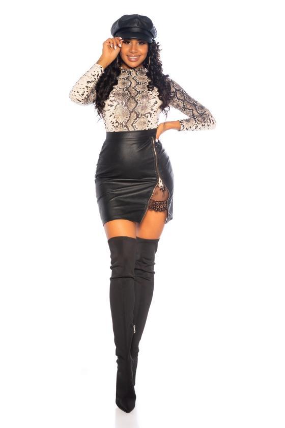 Juodos spalvos megzta suknelė su apykakle_242348