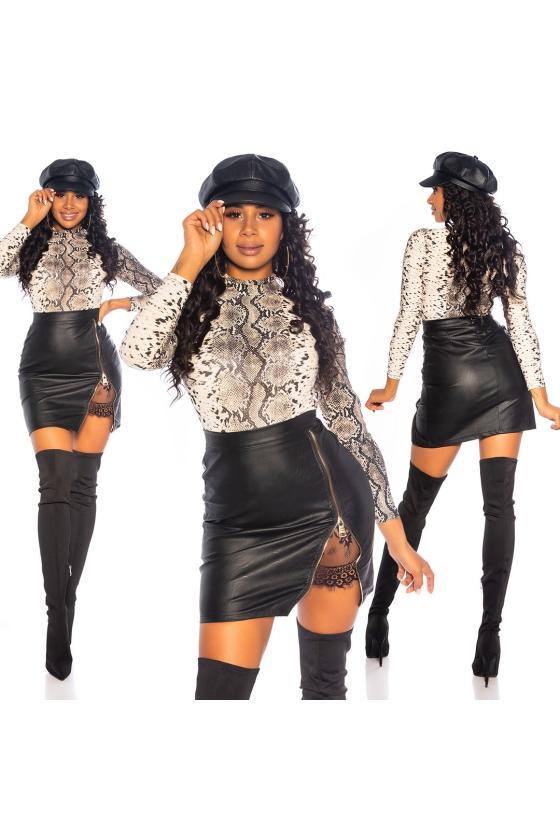 Smėlio spalvos mezgta suknelė su praskiepu_242351