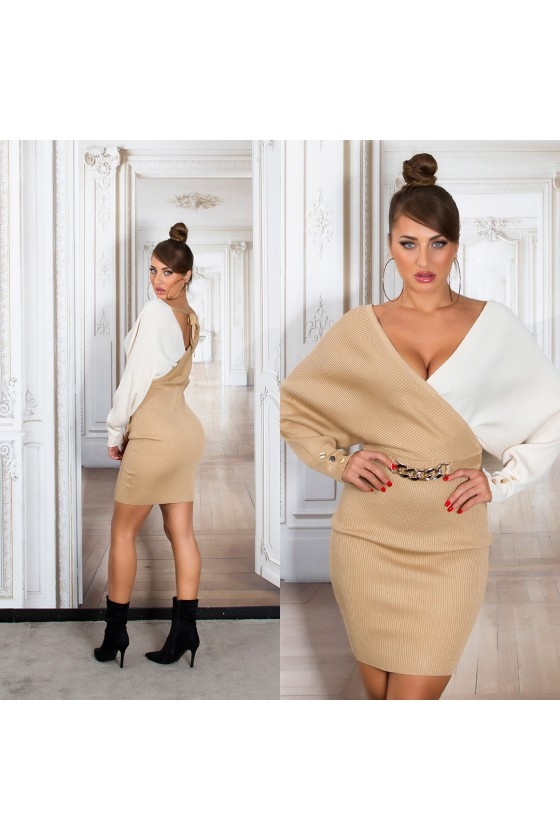 Kapučino spalvos megzta suknelė BI-COLOUR_242368