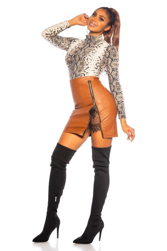 Kapučino spalvos megzta suknelė BI-COLOUR_242369