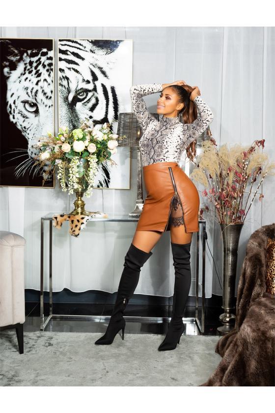 Raudonos spalvos megzta suknelė BI-COLOUR_242374